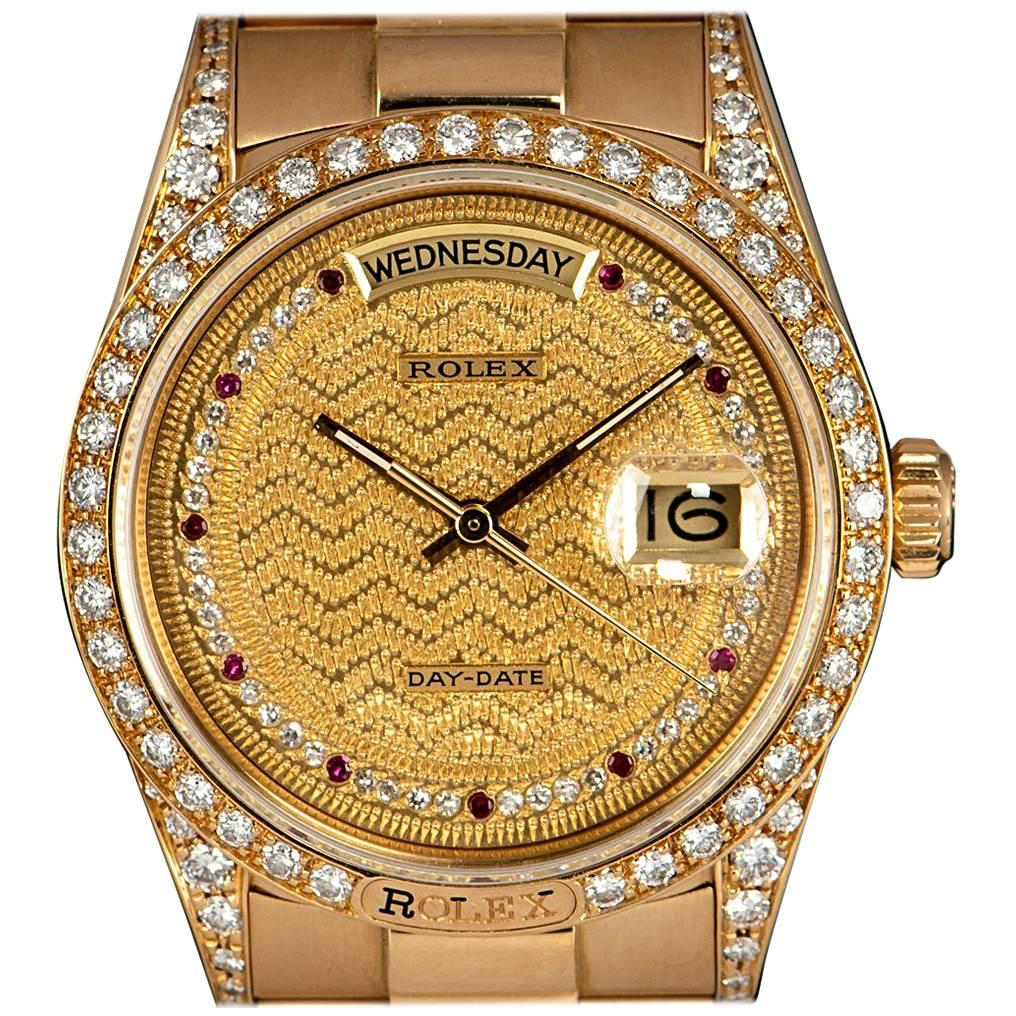 Rolex Day-Date Gold Decorated Diamond and Ruby String Dial Automatic Wristwatch