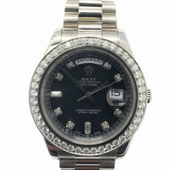 Rolex Day-Date Ii 218349 With White-Gold Bezel & Black Dial