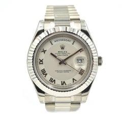 Rolex Day-Date II 41 Roman Dial Fluted Bezel Watch 18 Karat Gold Ref 218239