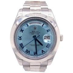Rolex Day-Date II 41 Sky Blue Platinum President Bracelet Automatic Watch 218206
