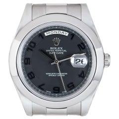 Rolex Day-Date II Platinum Black Dial B&P 218206 Watch