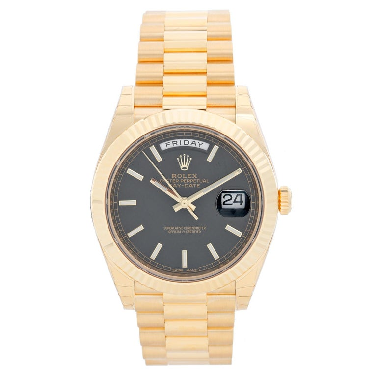 2866c87a35cc Rolex Day-Date II President 18 Karat Yellow Gold Men s Watch 228238 For  Sale at 1stdibs