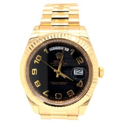 Rolex Day-Date II President Yellow Gold Black Wave Dial Face Watch 218238