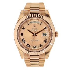 Rolex Day-Date II Rose Gold Pink Roman Dial President Watch 218235