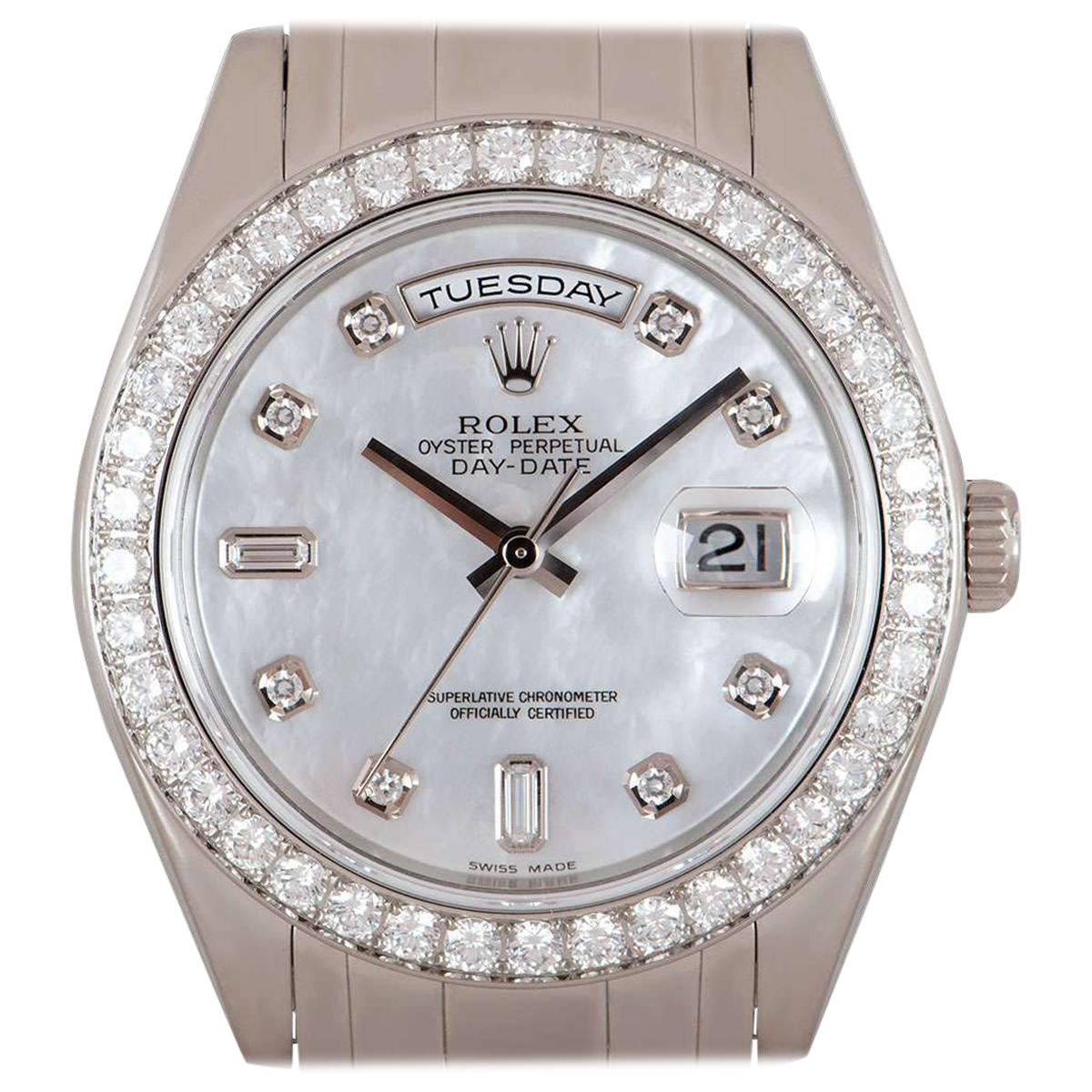 Rolex Day-Date Masterpiece Gents Platinum Mother of Pearl Dial Diamond Set 18946