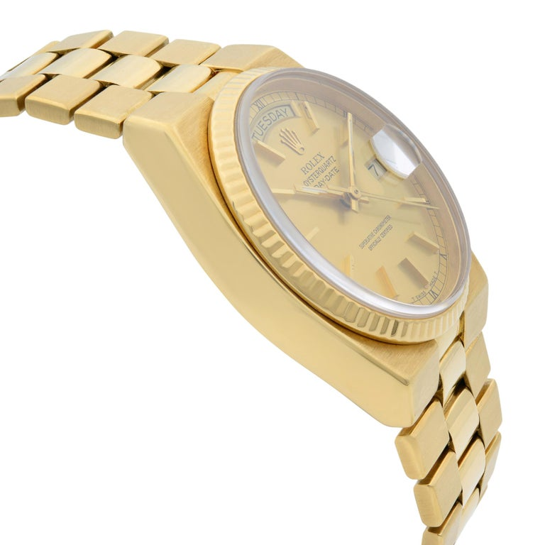 Rolex Day-Date Oysterquartz President 18k Gold Champagne Dial Men's Watch 19018 For Sale 1