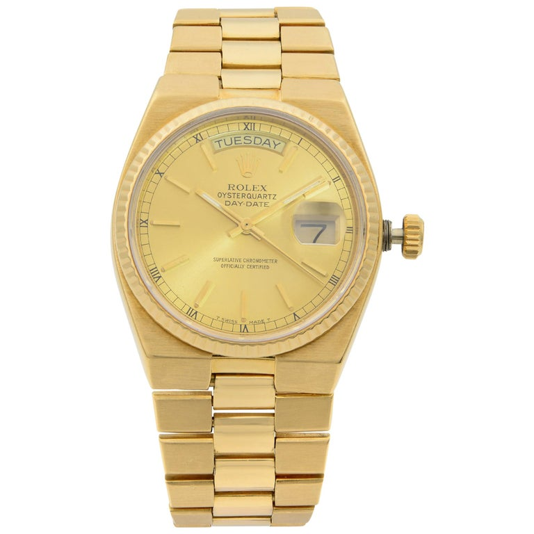 Rolex Day-Date Oysterquartz President 18k Gold Champagne Dial Men's Watch 19018 For Sale