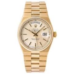 Rolex Day-Date Oysterquartz President 19018 Men Watch Silver Dial 18 Karat Gold