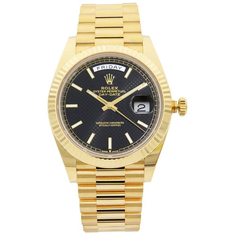 Rolex Day-Date President 18 Karat Gold Black Diagonal-Motif Men's Watch 228238 For Sale
