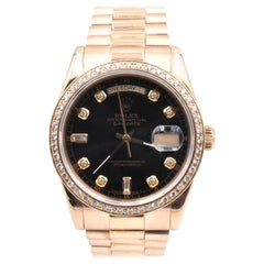 Rolex Day-Date President 18 Karat Gold Watch with Custom Diamond Bezel Ref. 11