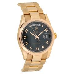 Rolex Day-Date President 18 Karat Rose Gold Arabic Black Dial 118205