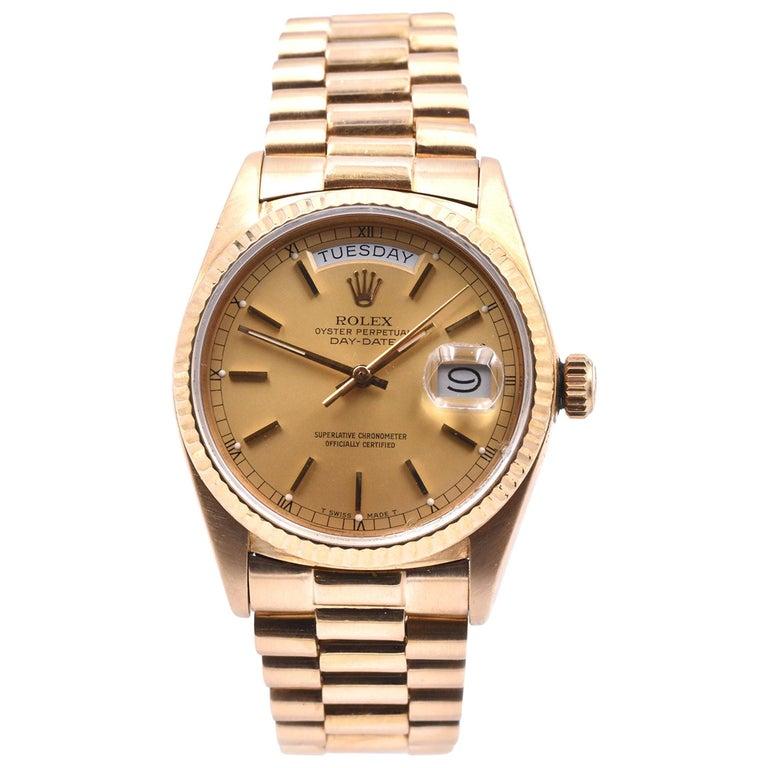 Rolex Day-Date President 18 Karat Yellow Gold Watch Ref. 18038 For Sale