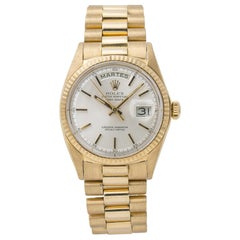 Rolex Day-Date President 1802 Unpolished 18 Karat Yellow Gold Silver Dial Men's