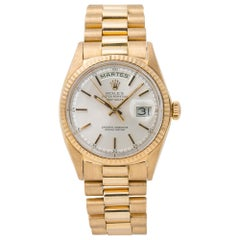 Rolex Day-Date President 1802 Unpolished 18k Yellow Gold Silver Dial Men's
