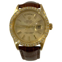 Rolex Day Date President 1803 Diamond Bezel 18 Karat Yellow Gold Leather Strap