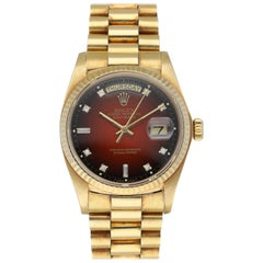Rolex Day Date President 18038 Red Vignette Diamond Dial Men's Watch