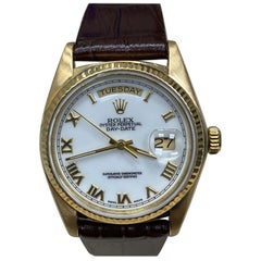 Rolex Day Date President 18038 White Roman Dial 18 Karat Gold Leather Band