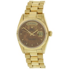 Rolex Day-Date President 18038 Wood Dial 18 Karat Yellow Gold Men's Watch