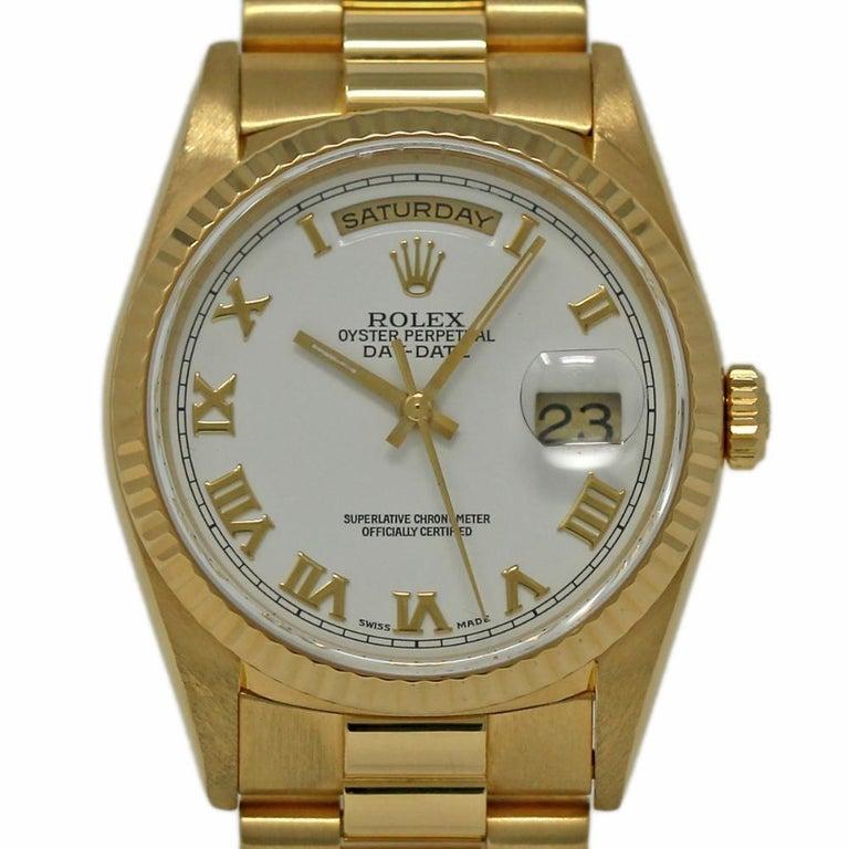 Rolex Day Date President 18238 18 Karat Yellow Gold White Dial 1995 Warranty