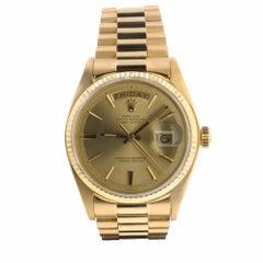 Rolex Day-Date President 18 Karat Yellow Gold Champagne Sticks Men's Watch 1803