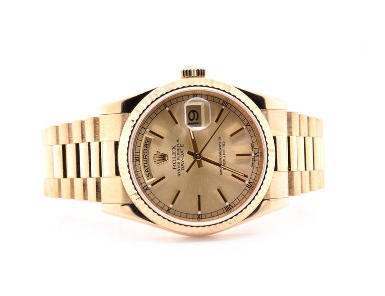 Rolex Day-Date President 18 Karat Yellow Gold Watch Ref. 118238 In Excellent Condition For Sale In Scottsdale, AZ