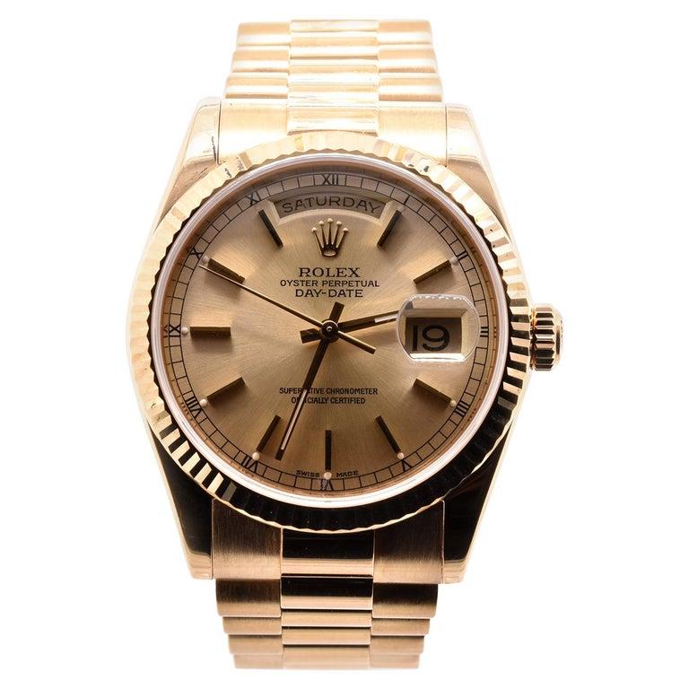 Rolex Day-Date President 18 Karat Yellow Gold Watch Ref. 118238 For Sale