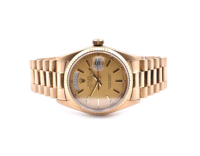 Rolex Day-Date President 18 Karat Yellow Gold Watch Ref. 18038 In Excellent Condition For Sale In Scottsdale, AZ