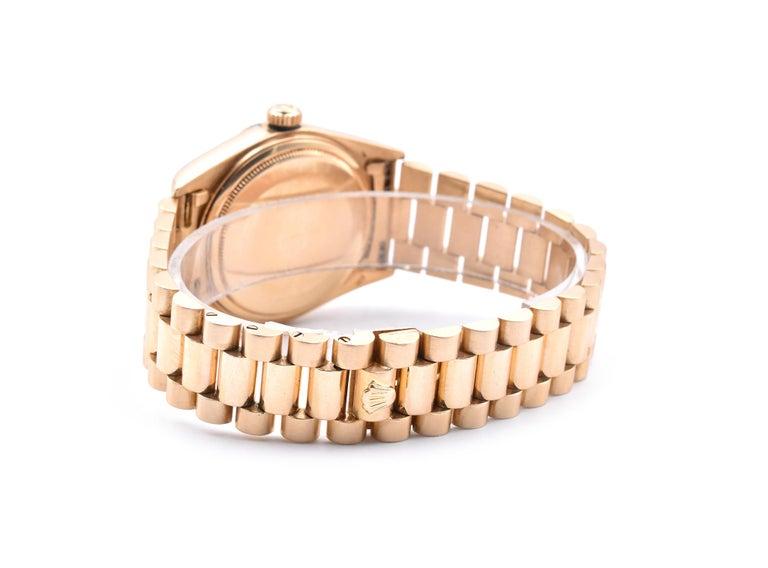 Women's or Men's Rolex Day-Date President 18 Karat Yellow Gold Watch Ref. 18038 For Sale