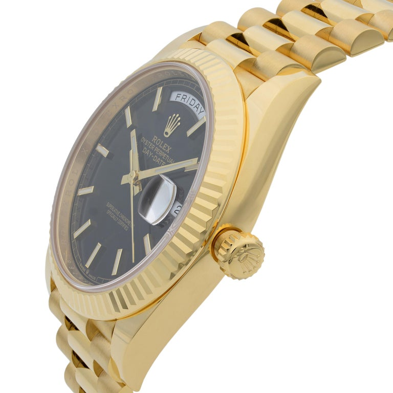 Rolex Day-Date President 18 Karat Gold Black Diagonal-Motif Men's Watch 228238 In New Condition For Sale In New York, NY