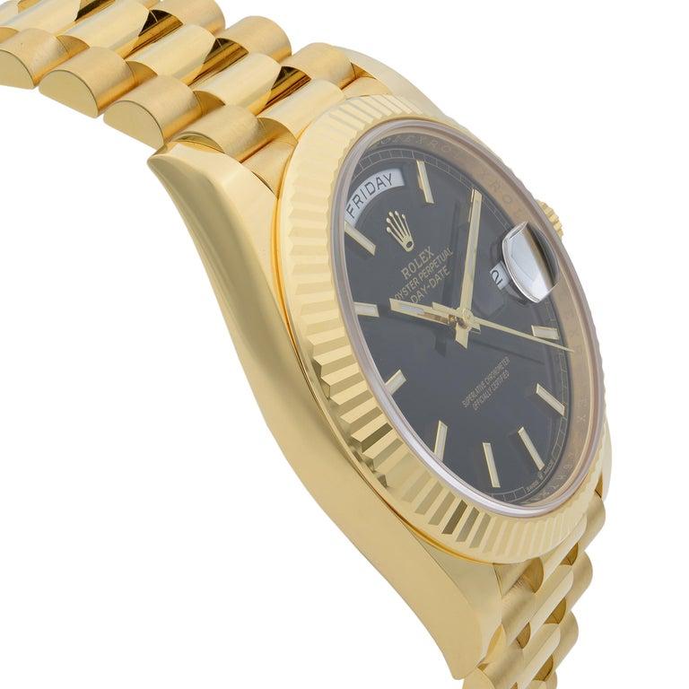 Women's Rolex Day-Date President 18 Karat Gold Black Diagonal-Motif Men's Watch 228238 For Sale