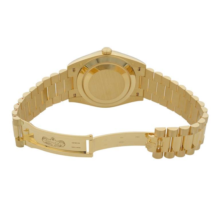 Rolex Day-Date President 18 Karat Gold Black Diagonal-Motif Men's Watch 228238 For Sale 1