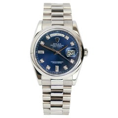 Rolex Day-Date President Blue Ombre Diamond Dial White Gold Watch 118209