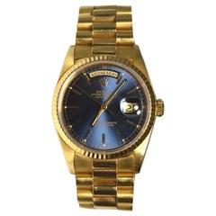 Rolex Day-Date President Ref. 18238 18 Karat Yellow Gold, Blue Dial Watch