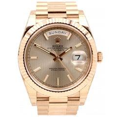 Rolex Day-Date President Sundust Stripe Motif Stick Dial Rose Gold Watch 228235