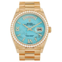 Rolex Day-Date President Turquoise Dial Diamond Bezel Watch 118238