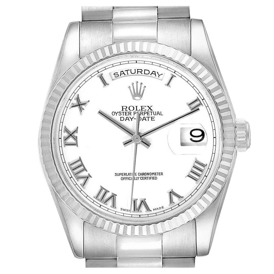 Rolex Day Date President White Gold White Dial Mens Watch 118239