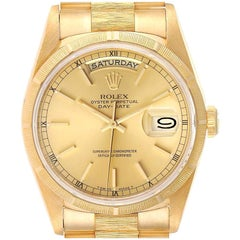 Rolex Day-Date President Yellow Gold Bark Finish Men's Watch 18248