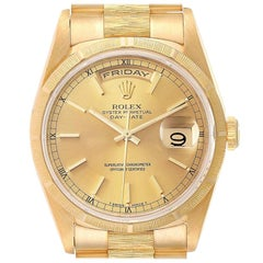 Rolex Day-Date President Yellow Gold Bark Finish Mens Watch 18248