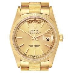 Rolex Day-Date President Yellow Gold Bark Finish Men's Watch 18248
