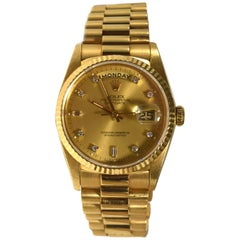Rolex Day-Date President Yellow Gold Diamond Dial Watch Ref. 118238