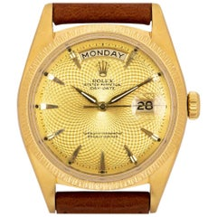 Rolex Day-Date Rare Vintage 18k Yellow Gold Champagne Guilloche Geometric Dial