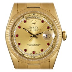 Rolex Day-Date Rare Yellow Gold Diamond & Ruby String Dial 18238 Automatic Watch