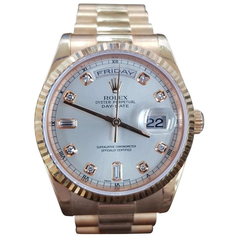 Rolex Day Date, Rose Gold, Model Number 118235, Registered 2005 For Sale