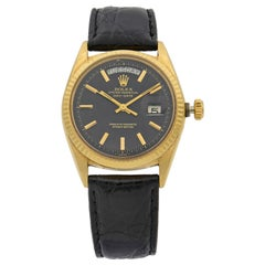 Rolex Day Date Vintage Champagne on Black 18K Yellow Gold Automatic Watch 1803