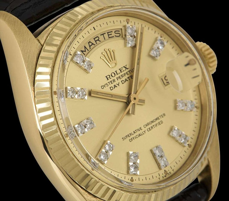 Round Cut Rolex Day-Date Vintage Gents 18 Karat Yellow Gold Champagne Diamond Dial 1803 For Sale
