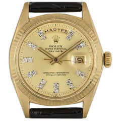 Rolex Day-Date Vintage Gents 18 Karat Yellow Gold Champagne Diamond Dial 1803
