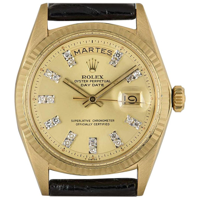 Rolex Day-Date Vintage Gents 18 Karat Yellow Gold Champagne Diamond Dial 1803 For Sale