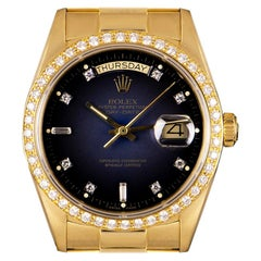 Rolex Day-Date Yellow Gold Blue Vignette Dial Diamond Set 18048 Automatic