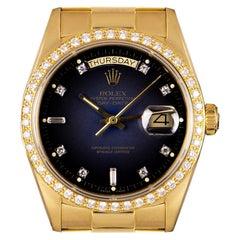 Rolex Day-Date Yellow Gold Blue Vignette Dial Diamond Set 18048 Automatic