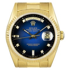 Rolex Day-Date Yellow Gold Blue Vignette Diamond Dial 18238 Automatic Watch
